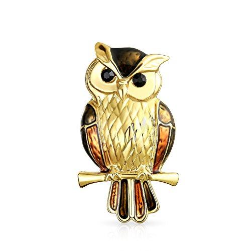 Bling Jewelry Golden Braun Emaille Eule Vogel Auf Zweig Broschen & Anstecknadeln Für Damen Vergoldete Kupferlegierung