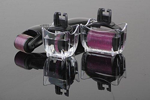 Derma Roller 3 en 1 3 tètes de rouleau au nombre d'aiguilles différent 180a/600a/1200a de dimensions 0,5mm, 1,0mm et 1,5mm, fabriquées en acier médical adapté aux yeux, au visage et au corps * Sain, efficace, comprend une trousse de rangement et de voyage