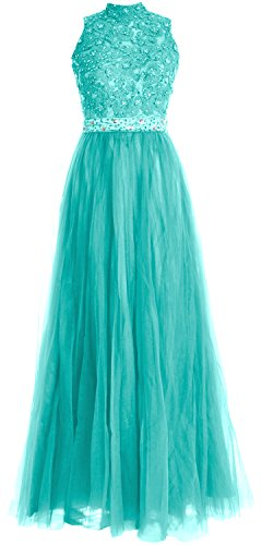 MACloth Women High Neck Lace Tulle Long Prom Dress Wedding Party Formal Gown Turquoise