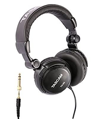 Tascam TH-03 Studio Headphones - Closed Back, Padded, Adjustable Pro Audio Headset with Gold Tip 1/8 inch to 1/4 inch Adaptor