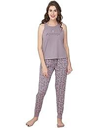 ZEYO Women s Cotton Yellow   Purple Star   Heart Print Stylish Night Suit faf3df66c