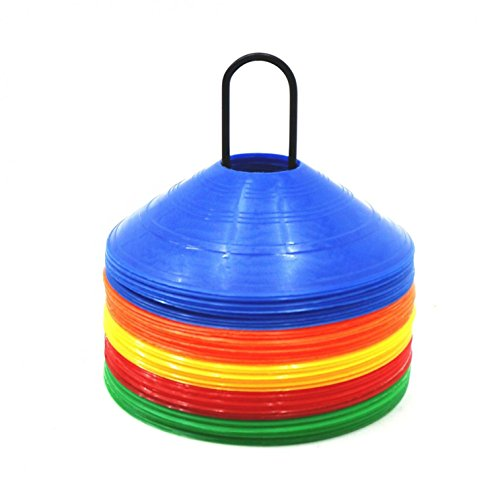 Oypla 50x Multi Coloured Football Rugby Sports Training Markers Discs Cones w  Stand