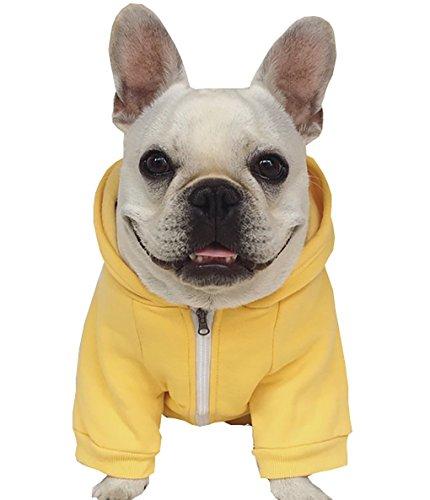 Kostüm Hunde Mops - Moolecole Zip-up Kapuzenpullover Haustier Kostüm Hund Kleider Outfit Komisch Haustier Bekleidung Für Französisch Bulldogge Und Mops Gelb L