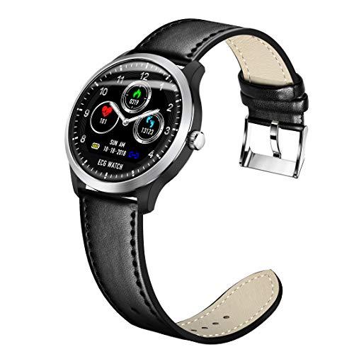 XWEM EKG Smart Armband, EKG + PPG Überwachung HRV Bericht Blutdruck Herzfrequenz Test Smart Reminder Sport Armband Kompatibel Mit Android-System Ios-System,Black