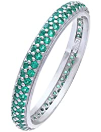 Citerna Rhodium Plated Silver Double Row Green Cubic Zirconia Full Eternity Ring