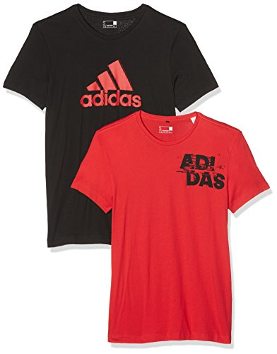 adidas Herren Performance Adi Pack 2 in 1 T-Shirts Black/Vivid Red