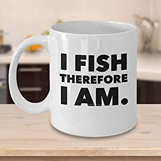 King34Webb Funny Fishing Coffee MugI Fishi Therefore I AmBest Fishing Lovers GiftsUnique Cool Cute Humor SarcasmGift for Schooners Campers