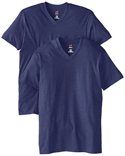 Hanes V-neck T-shirts (Hanes Herren Nano Premium Cotton V-Neck T-Shirt (2 Stück) - Blau - 3X-Groß)