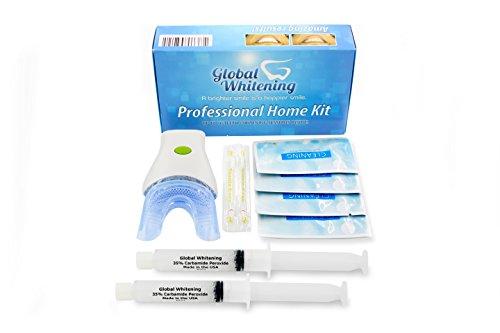 Global Whitening® - Professionelles Zahnaufhellung Hause Kit System W / 7 LED Blaulicht Vibrierendes Bürstensystem - 35% Carbamidperoxid - Erhalten Sie weißere Zähne - Teeth Whitening Kit (Carbamidperoxid Whitening)