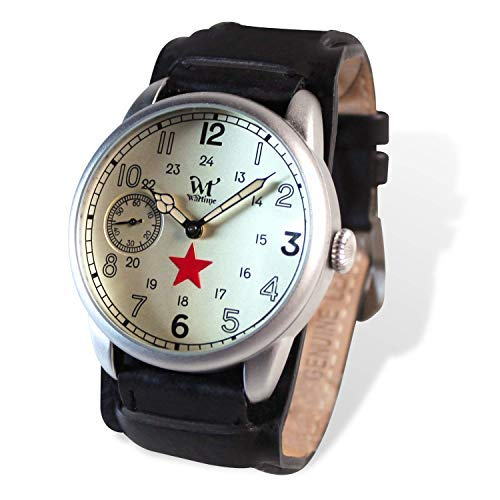 WT WARTIME Unisex Uhr analog Mecanic Movement mit Leder Armband URS Type 1