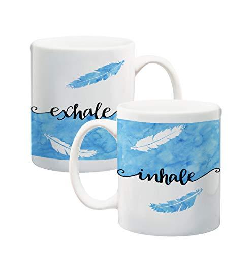 Inhale/Ausatmen Zitat Kaffeebecher 325 ml Keramik Tasse mit Original Kunst Meditation Yoga Geschenk