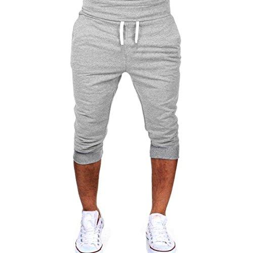 Pantalones Hombre,❤LMMVP❤Verano Hombres Gimnasio Entrenamiento Jogging Pantalones Cortos Fit elástico Casual Ropa de Deporte (M, Gris)