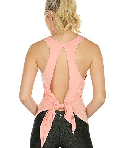 icyzone Damen Tank Tops Casual Kurzarm Rückenfrei Shirts für Yoga Workout (L, Pale Blush)