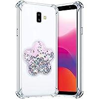Robinsoni Funda Compatible con Samsung Galaxy J6 Plus 2018 Funda Silicona Carcasa Glitter Liquida Carcasa Gel Goma Funda Bumper 3D Suave Case Flexible Ultra Suave Brillante Carcasa Funda Plata