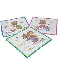 12 Stück Kinder Stoff Taschentücher Kindertaschentücher Set Größe 26x26 cm 100% Baumwolle Tier Motive Design 6