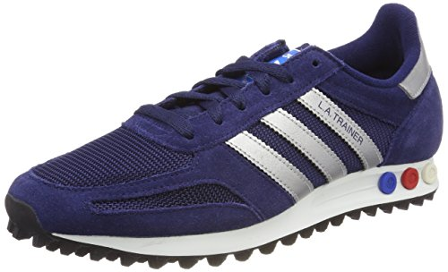 adidas Herren LA Trainer Gymnastikschuhe, Blau (Dark Blue/Metallic Silver-Sld/Dark Grey Heather), 46 2/3 EU (Retro-lifestyle-schuhe)