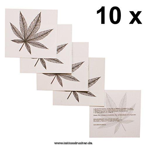 10 x Haschisch Tattoo - Hanfblatt Tatoo - Marihuana Blatt - Hippie Tattoo (Marihuana Kostüme)