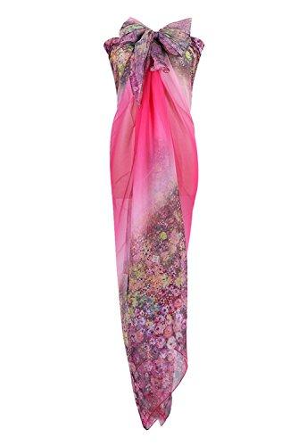 PB-SOAR XXL Mode Damen Sarong Pareo Strandtuch Wickelrock Wickeltuch Schal Halstuch mit Blumenmuster (Pink)