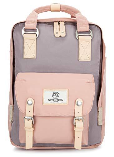 SEVENTEEN LONDON – Moderner, einfacher und Unisex 'Marylebone' Rucksack in rosa und grau mit Einem klassischen Design im Skandi-Stil – perfekt für 13-Zoll-Laptops