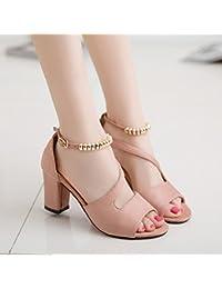 LGK & Fa verano de las mujeres sandalias verano sandalias peces gruesa y zapatos de moda las mujeres de tacón Medio, rosa, 37