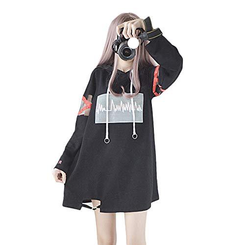oodies Harajuku Schwarz Lange Hoodie Kleid Baumwolle für Damen (L, Black) ()
