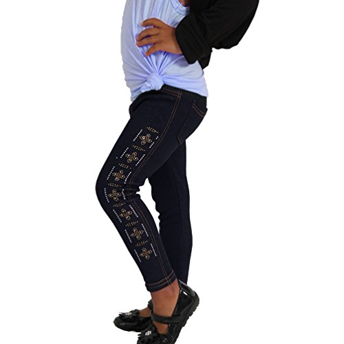 Kinder Thermo Teddy Jeans Hose Strass Kreuz Leggings Jeggings warm Stein Zick Zack (152, Blau) (Strass-kinder Jeans)