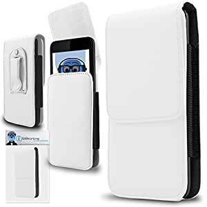 White PREMIUM PU Leather Vertical Executive Side Pouch Case Cover Holster with Belt Loop Clip and Magnetic Closure for Xolo Q700