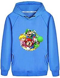 Haililais Super Mario Sudaderas Estampados para Niño y Niña Sudaderas con Capucha Casuales Suéter Hipster Camisetas