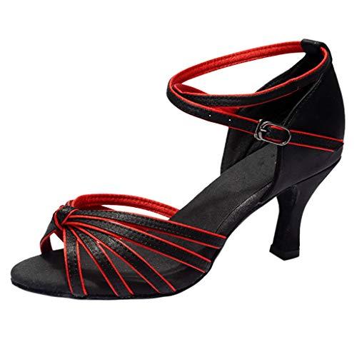 Dorical PU Damen Tanzschuhe/Latein Übergrößen Sandale für Innen-Tanzen/Soziale Partei Tango Tanzschuhe/Walzer Tanzschuhe für Halloween Performance-Schuhe Valentinstag Schuhe (Schwarz,38 EU)