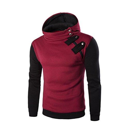 Xmiral Herren Hoodie Sweatshirt Langarm Mit Kapuze Oberteile Tilt Buckle Farbe Spleißen Slim Fit(XL,Rot)