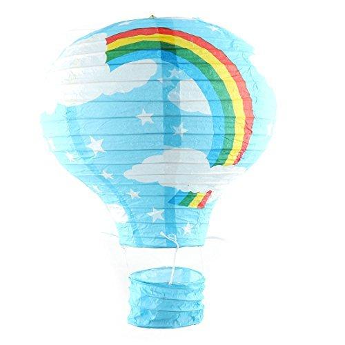 DealMux Papier Regenbogen-Druck-Party-Abschluss-DIY Lightless hängende Dekoration Heißluft-Ballon Laterne Blau