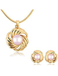 Spargz Gold Plated Pearl Party Wear Charming Rose Flower Pendant Necklaces And Stud Earrings For Women ALPS_5006