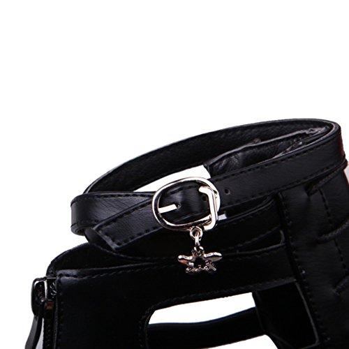 YE Damen Spitz Ankle Strap Stiletto High Heel Pumps mit 8cm Absatz und Reißverschluss Schuhe Schwarz