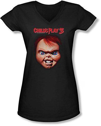 e Frauen Chucky V-Neck T-Shirt, XX-Large, Black (Chucky-shirt Für Kinder)