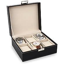 Amzdeal scatola porta orologi custodia per 6