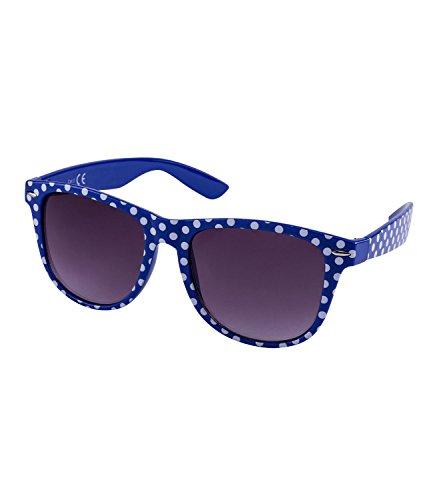 SIX Blaue Retro Sonnenbrille, Nerdbrille, Kultbrille weiß gepunktet, Rockabilly Fifties Stil (324-338)