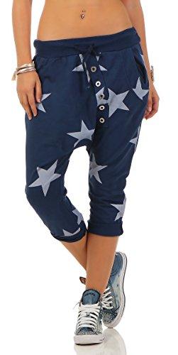 Mississhop 167 Shirtella Damen Capri Hose Haremshose Ballonhose Pluderhose Pumphose Aladinhose Sommerhose Sternen Print Stern Muster Baggy Pants 3/4 Blau 3/4 Baggy Pants
