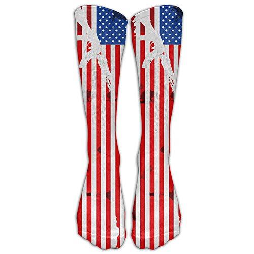 Bgejkos Herren Gun American USA Flag High Socks Schuh 50cm