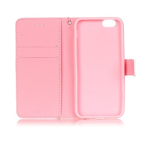 iPhone 6S Hülle, iPhone 6 Hülle, ISAKEN iPhone 6S 6 Hülle Muster, Handy Case Cover Tasche for iPhone 6S / 6, Bunte Retro Muster Druck Flip Cover PU Leder Tasche Case Schutzhülle Hülle Handy Tasche Etu Kirschblüte Pink