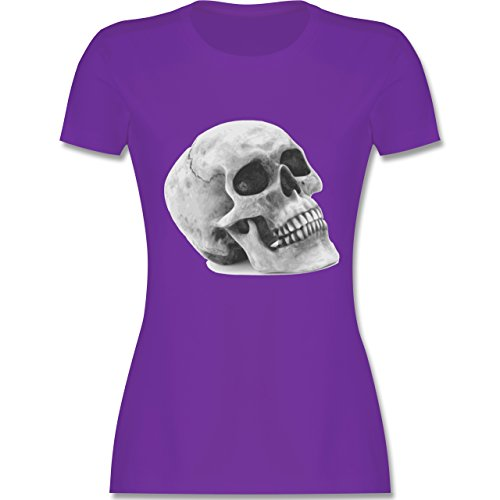 Piraten & Totenkopf - Totenkopf Skull - XL - Lila - L191 - Damen Tshirt und Frauen T-Shirt (Men's Night Elf Kostüm)