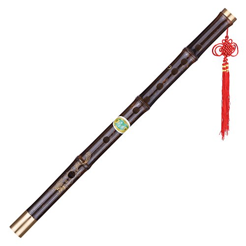 ammoon Professionelle schwarze Bambus Dizi Flöte Traditionelle handgemachte chinesische Musikholzblasinstrument Schlüssel von G-Studie Stufe