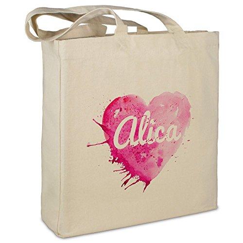 """Stofftasche mit Namen """"Alica"""" - Motiv Painted Heart - Farbe beige - Stoffbeutel, Jutebeutel, Einkaufstasche, Beutel"""