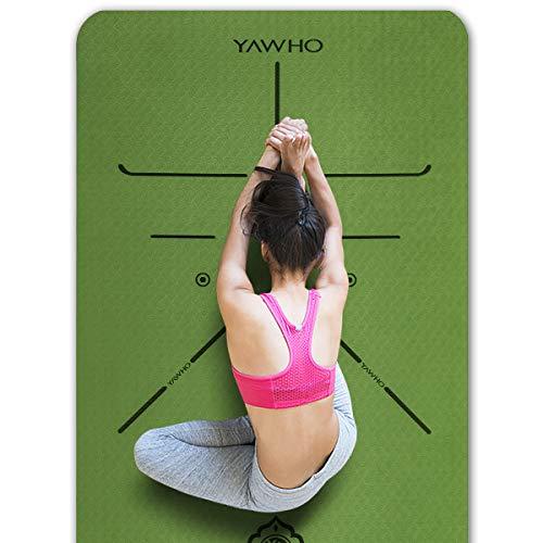 YAWHO Yogamatte hochwertige TPE ist rutschfest ECO Freundlichen Material Das SGS Zertifiziert Maße: 183 cm X 66 cm Höhe 0.6 cm, Design Hilfslinien, licht, umweltfreundlich, langlebig (Green) (Kinder-yoga-matte Grün)