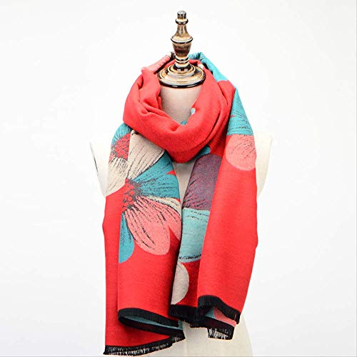 zoyolo Sonne Blume Kaschmir Schal, Herbst Und Winter Plus Dicke Mode Warmen Schal Frauen Umhang Mantel 190x69cm Rotgrüne Blume -