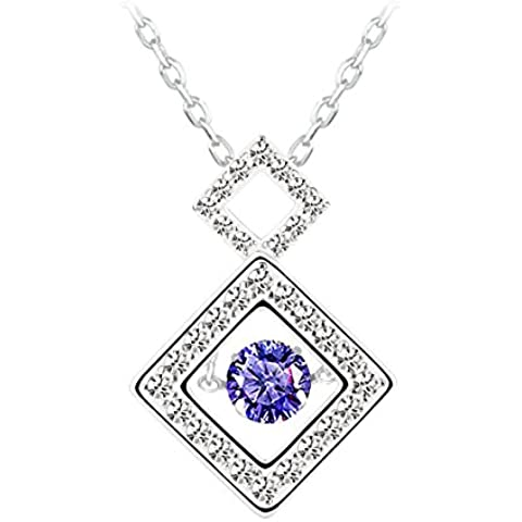 Le Premium® Ballando Diamond Series 925 PIAZZE collana in argento sterling Ciondolo Con Craft sospensione fissata AAA Lavanda zircone viola