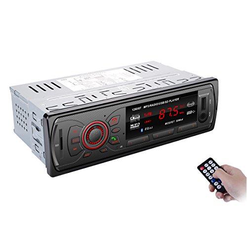 Bedee Autoradio Bluetooth KFZ Empfänger MP3 Player Car Audio mit Freisprecheinrichtung für Apple iPhone / iPad / iPod / Smartphone, Unterstützung USB/AUX Anschluss SD Karten ISO Anschlußkabel 1 DIN