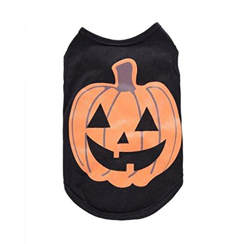 HKFV Haustierhundekleidung Halloween Fester Kürbis Baumwolle Schwarz-Weste T-Shirt Kleidung (XL)