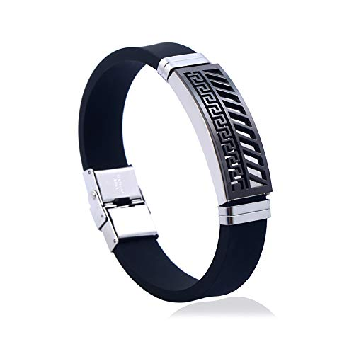 CAOLATOR Männer Armband Edelstahl Armband Schwarz Silikon Armbänder Männerarmband Geflochten Armreif für Herren (Valentine-silikon-armbänder)