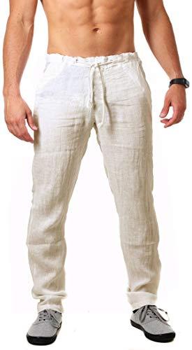 Young & Rich Herren Leinenhose Sommerhose 100% Leinen mit Kordelzug körperbetonte Passform Tapered Legs T4080, Grösse:M, Farbe:Beige