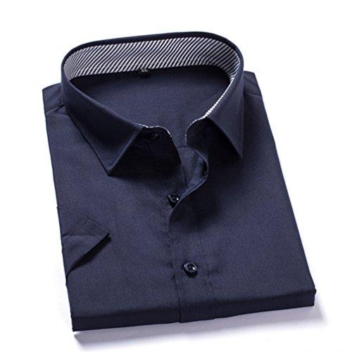 Sentao Uomo Camicie Moda Semplice Maniche Corte Colore Solido Casuale Camicia Slim Shirts Marina Militare